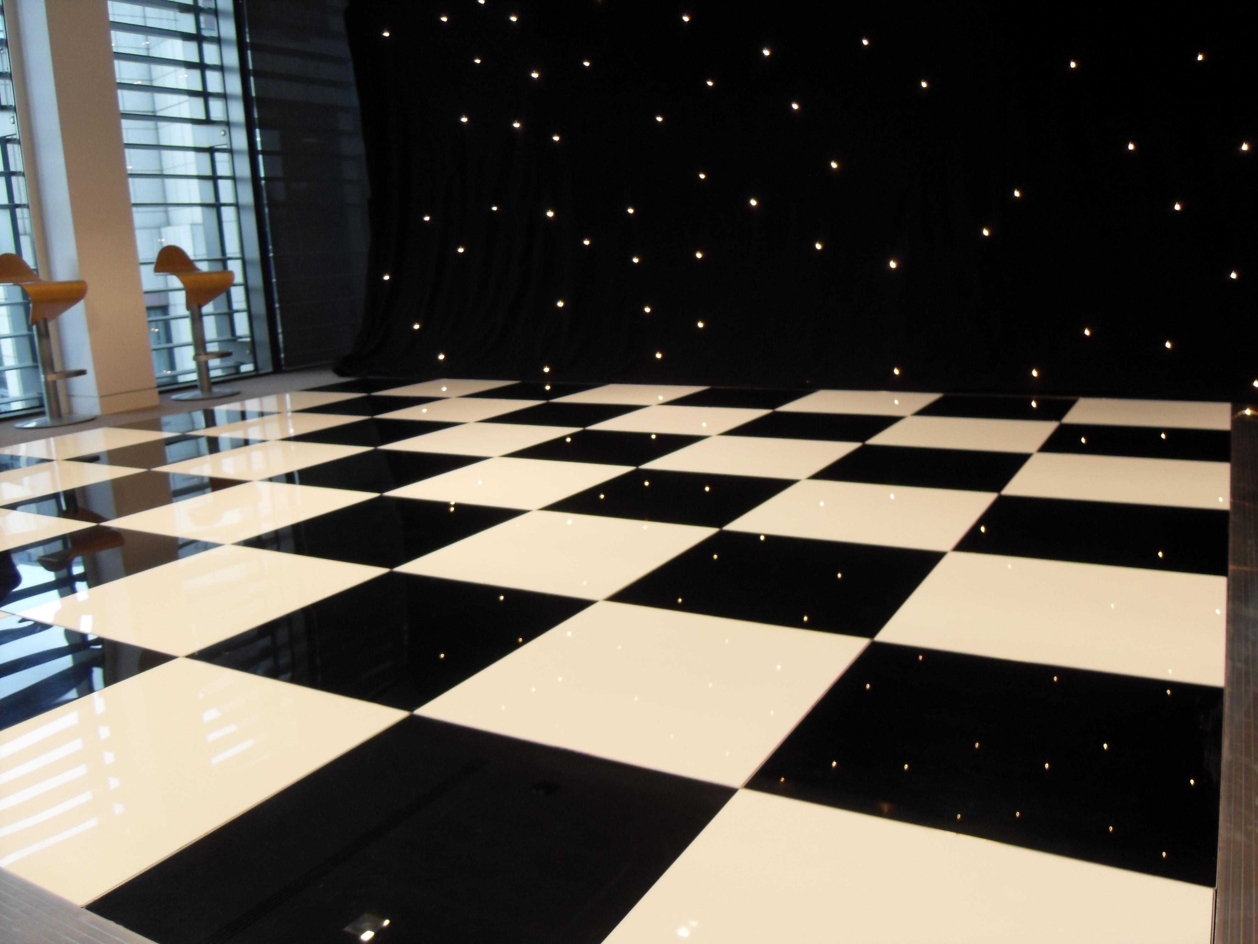 Led dance floors for hiring av2rent for Black and white check floor